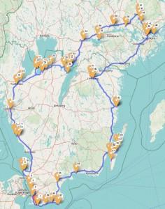unsere Fahrtroute grob nachgezeichnet in einem OpenStreetmap-Kartendienst, Länge hier 2266 km