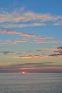 Sonnenuntergang auf der Rückfahrt nach Schweden auf einer Fähre in der Ostsee
