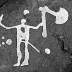 Felsritzung am Kinnekulle, ein Mensch mit Axt