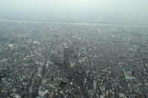 Tokio aus 450 Metern Höhe von der oberen Aussichtsplattform des Tokio Skytree.