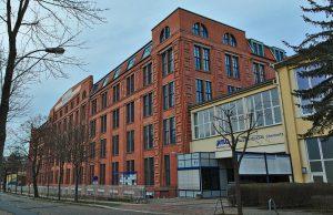 Seitenansicht des heute Wirkbau genannten Komplexes der ehemaligen Textilmaschinenproduktion der Firma Schubert & Salzer, Chemnitz, Annaberger Straße 73 von 1927