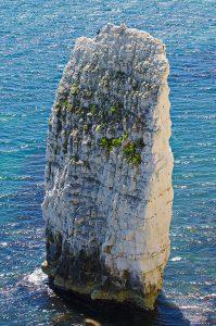 Ein einzelner Fels vor der Steilküste zwischen Swanage und den Old Harry Rocks.