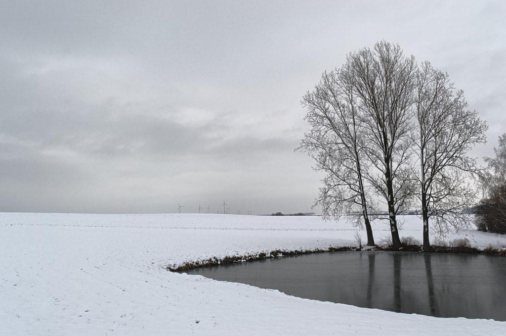 Winterliche Landschaft im November 2012 bei Mittweida, Mittelsachsen.
