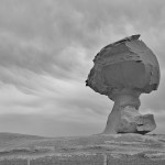 Der berühmte Pilz der Weißen Wüste, der einzige Fels mit Absperrung. Hier in schwarz-weiß.