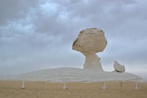 Der berühmte Pilz der Weißen Wüste, der einzige Fels mit Absperrung. Hier zusammen mit dem Huhn zu sehen.