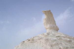 Spitze eines Felsens in der Weißen Wüste.