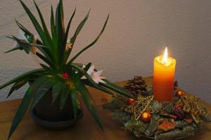 HDR-Montage aus zwei Bildern von einer Kerze und einer weihnachtlich dekorierten Pflanze mit manuellem Weißabgleich per Graukarte