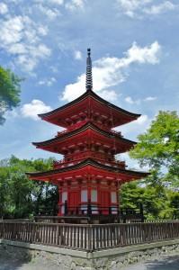 Pagode auf dem Gelände des Kiyomizu-dera Tempels in Kyoto.