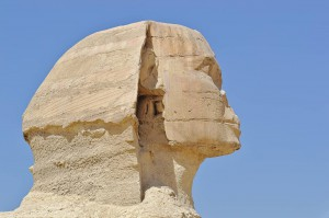 Portrait der Sphinx von der Seite.