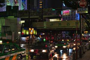 Taxis am Bahnhof Shibuya in Tokio.