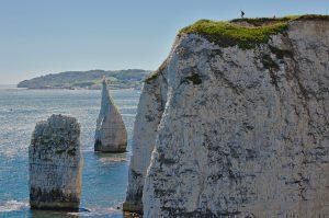 Die zwei freistehenden Felsen zwischen Swanage und den Old Harry Rocks. Auf der Klippe steht ein Mann mit einem Selfie-Stick.