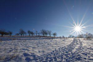 Weg im Schnee bei der Leuchtenburg.