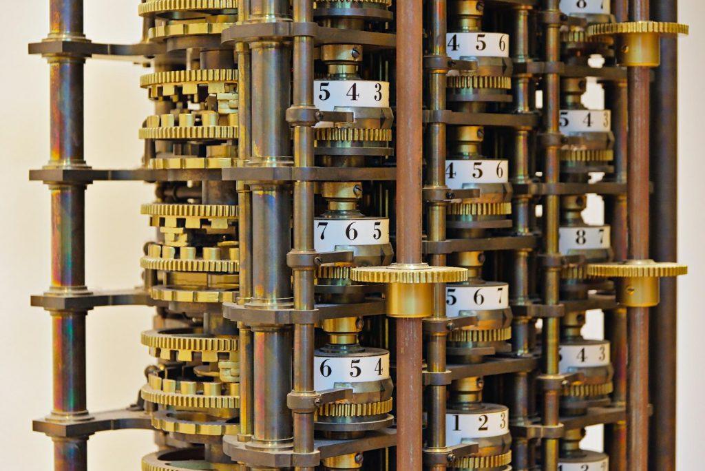 Ein Nachbau eines Fragments der Difference Engine No. 1 von Charles Babbage